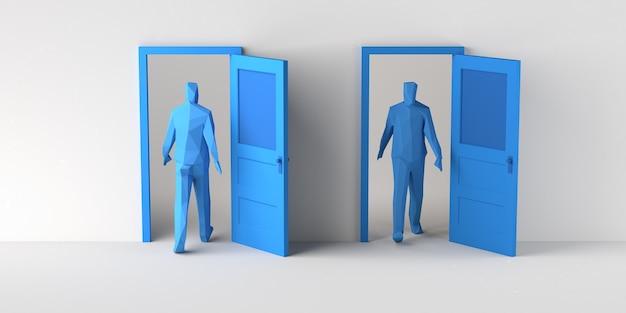 Homme entrant et sortant d'une porte en boucle. espace de copie. illustration 3d.