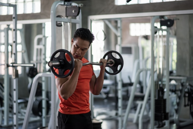 Homme, exercice, haltères, poids, gymnase