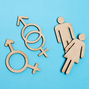 Homme et femme aux côtés des signes de genre