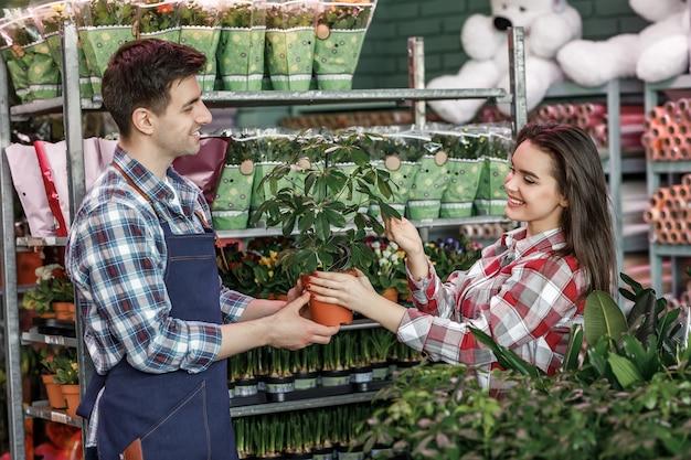 Homme et femme dans un magasin de fleurs