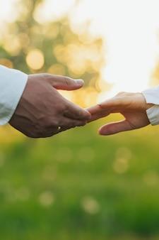 Homme et femme tenant par les mains contre le champ vert