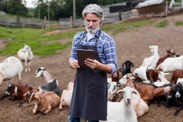 Homme à la ferme à la recherche sur tablette