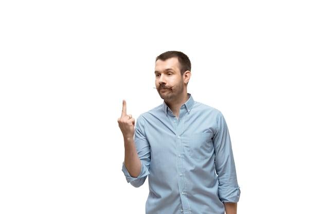 Homme sur fond de studio blanc, émotions drôles de meme