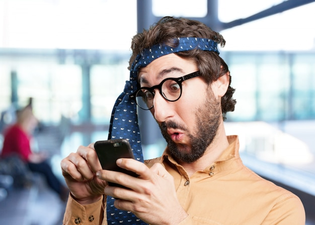 Homme fou avec expression phone.funny mobiles