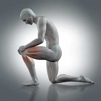 L'homme avec un genou sur le sol