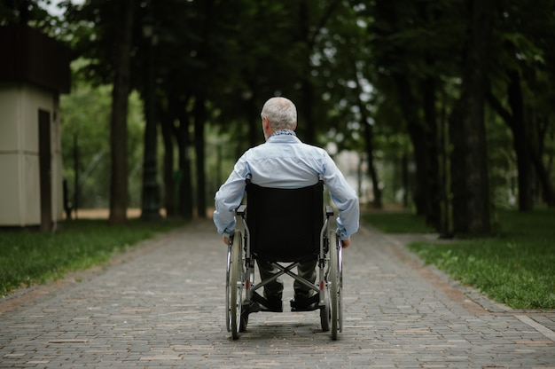 Homme handicapé adulte en fauteuil roulant marchant dans le parc