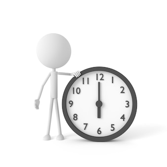 L'homme et l'horloge avec la notion de temps de départ.