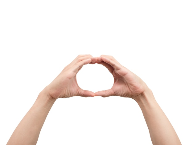 L'homme main geste cercle mains blanc isolé