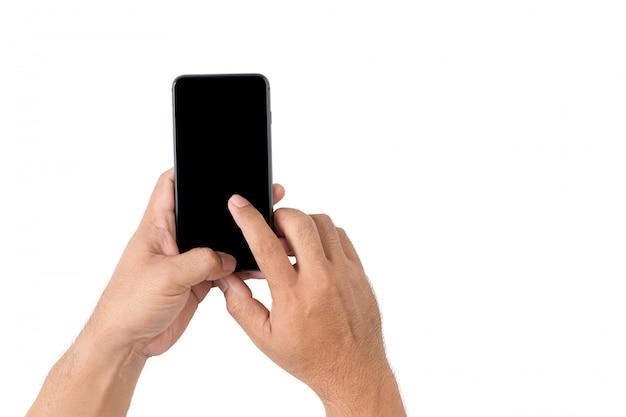 Homme de main tient un téléphone mobile avec écran noir isolé sur fond blanc