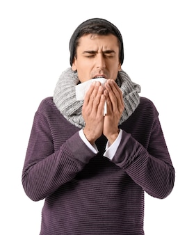 Homme malade sur une surface blanche
