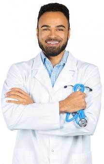 Homme médecin afro-américain noir isolé blanc