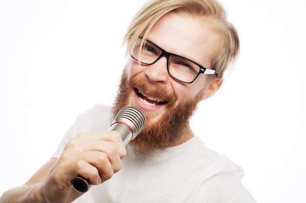Homme, à, microphone