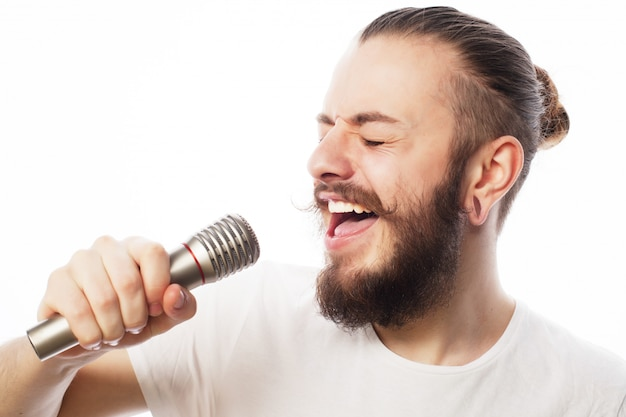 Homme, à, microphone