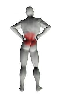 Homme modèle 3d avec des maux de dos
