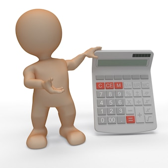 Homme de morphing 3d avec calculatrice