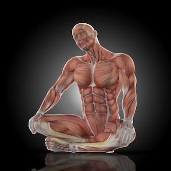 Homme musclé assis les jambes croisées