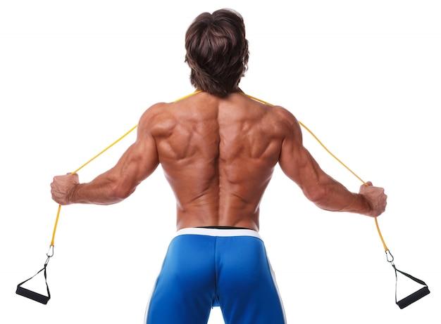 Homme muscle, travailler, à, élastique
