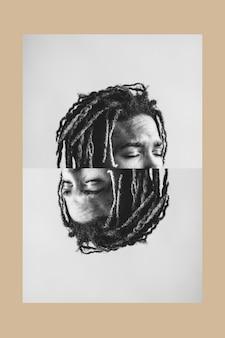 Homme noir avec ses yeux fermés