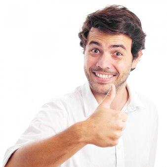 Homme ok geste sur fond blanc