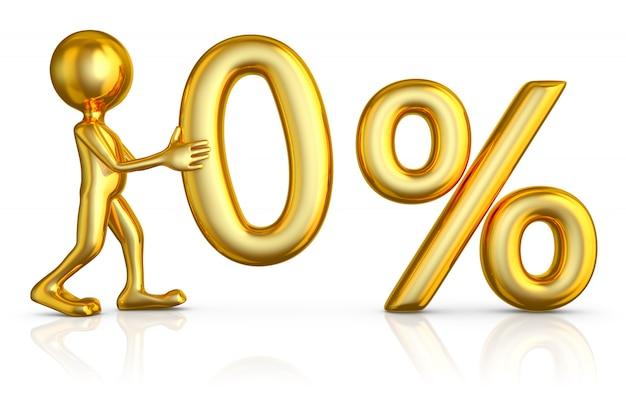 Homme d'or tenant un chiffre de zéro pour cent