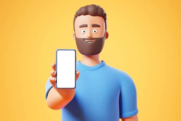 Homme de personnage de barbe de dessin animé heureux montre un smartphone avec un écran de maquette vierge blanc sur fond bleu. illustration de rendu 3d.