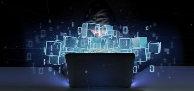 Homme, piratage, nuage, cube, blockchain, cube, données binaires, rendu 3d
