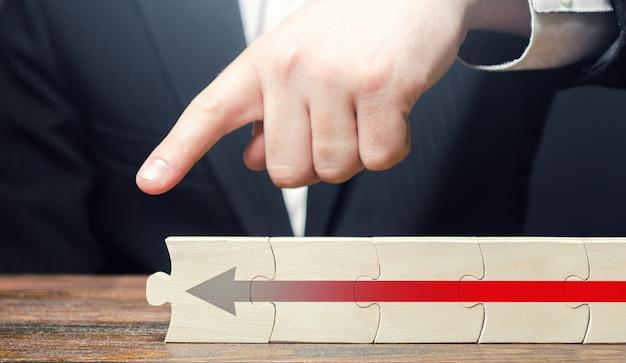 L'homme pointe son doigt à la fin de la chaîne de puzzle avec une flèche