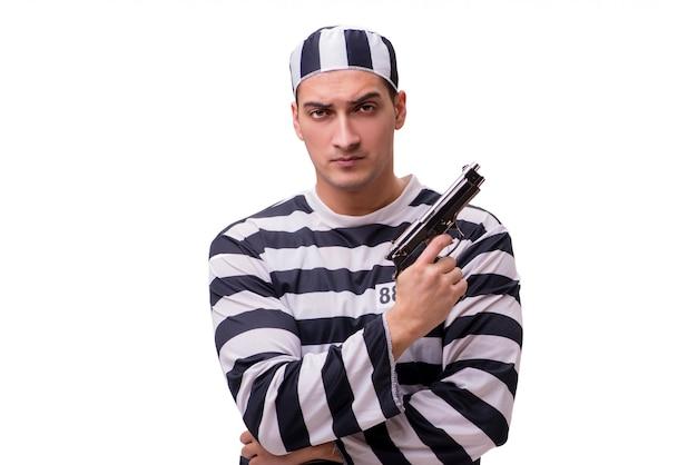 Homme prisonnier avec arme à feu isolé sur blanc