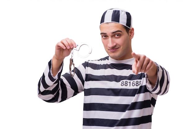 Homme prisonnier isolé sur blanc
