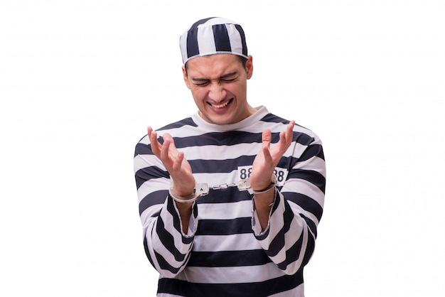 Homme prisonnier isolé sur fond blanc