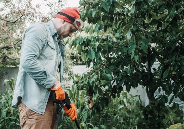 Un homme pulvérise un arbre touché par les pucerons avec du savon insecticide, un travailleur agricole pulvérise des pesticides ou des insecticides toxiques sur une plantation fruitière
