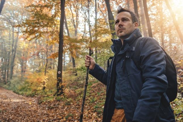 Homme en randonnée en forêt
