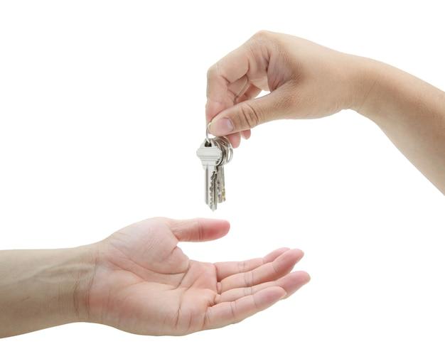 Homme, remise, ensemble, clés, maison