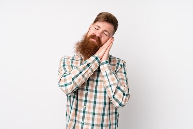 Homme rousse avec une longue barbe sur un blanc isolé faisant un geste de sommeil dans une expression dorable