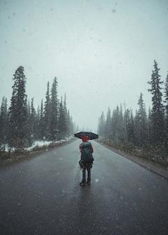 Homme routard avec parapluie debout dans le blizzard sur la route dans la forêt de pins au parc national banff