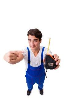 Homme avec un ruban à mesurer isolé