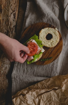 Homme, à, sandwich