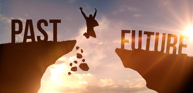 Homme sautant du passé au futur, concept de réussite. silhouette d'homme sur fond de ciel coucher de soleil photo