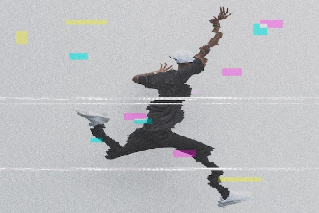 Homme saute sur l'effet glitch