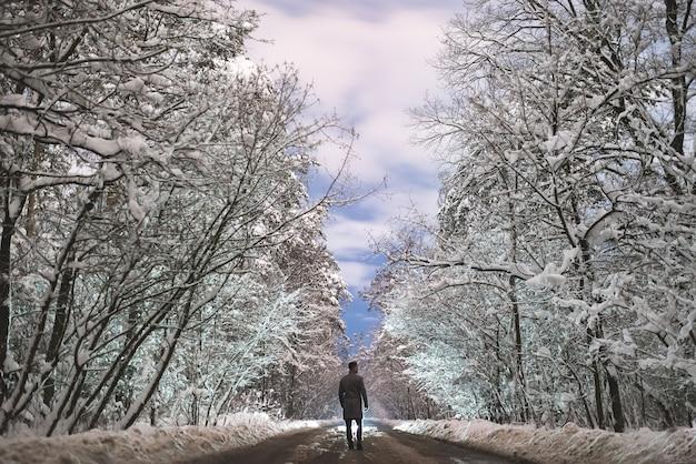 L'homme se tient sur une route enneigée dans la forêt