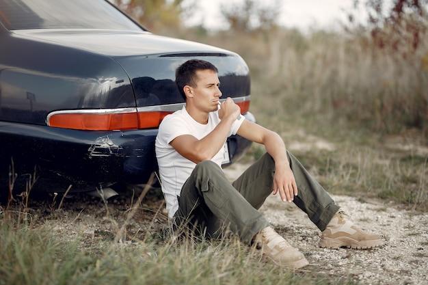 Homme, séance, cassé, voiture