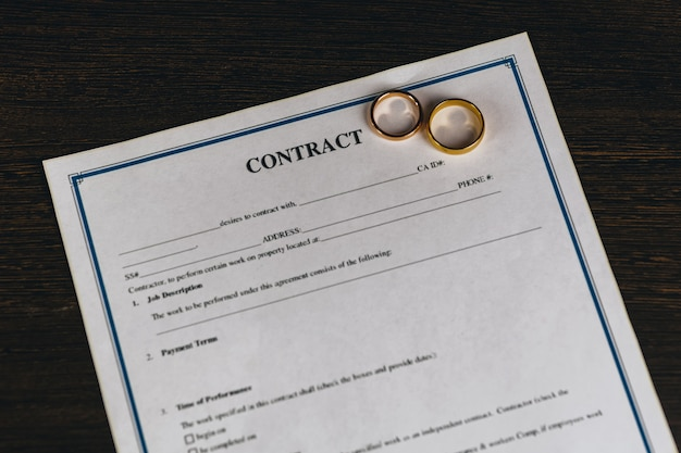 Homme signant un contrat de mariage