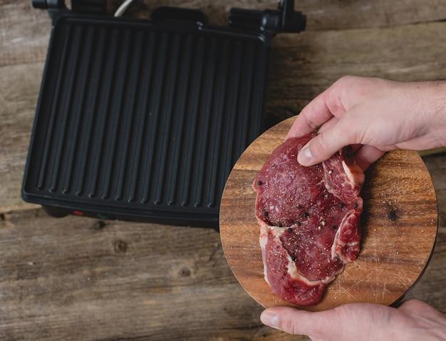 Homme, à, steak