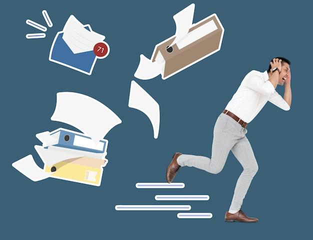 Homme stressé fuyant son travail