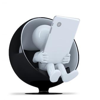 L'homme avec tablette tablette dans une chaise ronde moderne