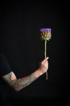 Homme tatoué main tenant fleur d'artichaut violet sur fond noir, carte de voeux ou concept