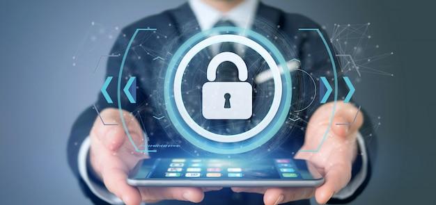 Homme tenant un concept de cadenas web security concept rendu 3d