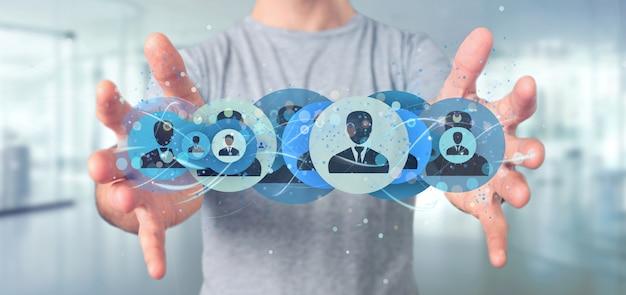 Homme tenant un concept de réseau de contact professionnel rendu 3d