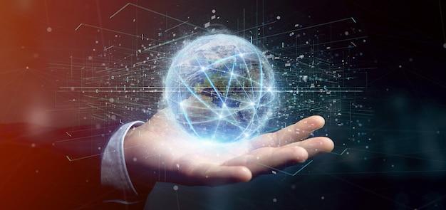 Homme tenant connectionround un globe terrestre isolé rendu 3d