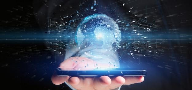 Homme tenant un globe terrestre de données de rendu 3d